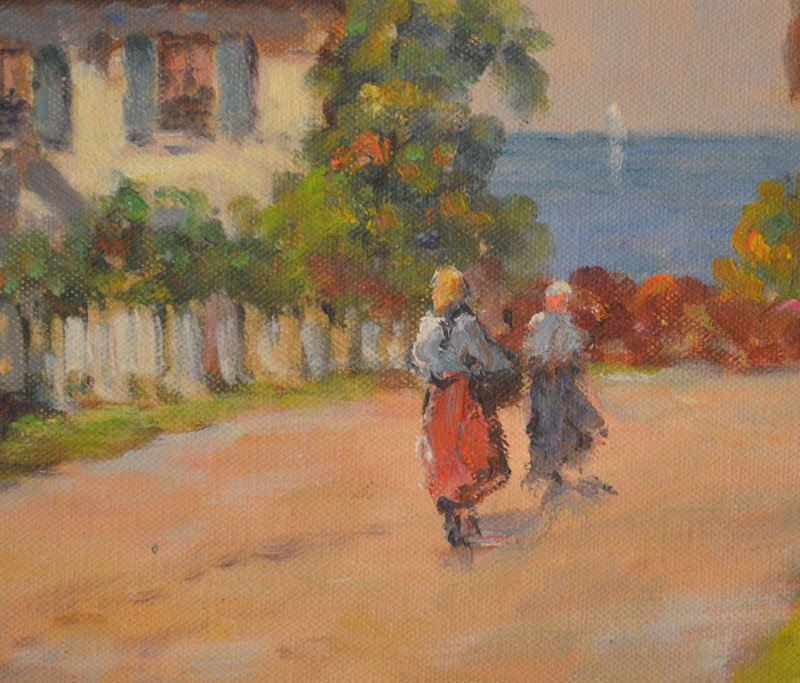 Stunning Impressionist Painting Maine Village by FH - 2
