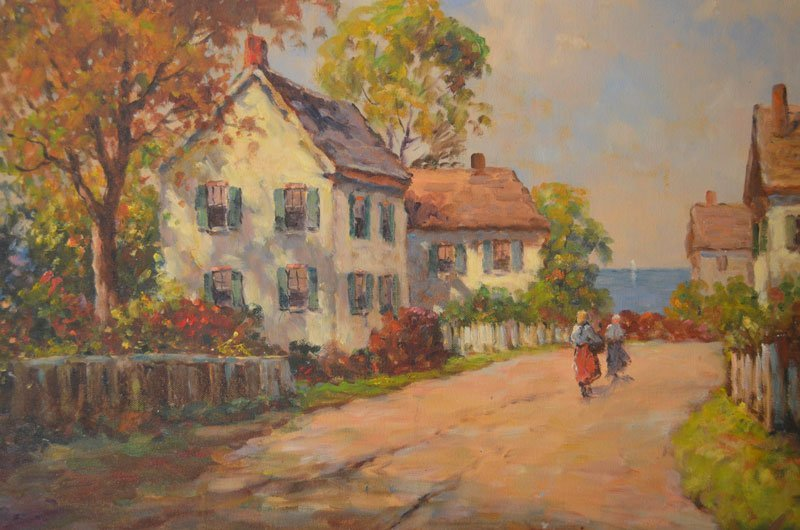 Stunning Impressionist Painting Maine Village by FH - 3