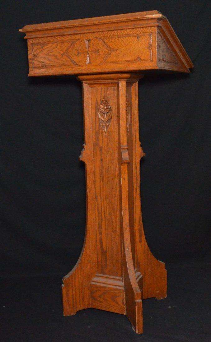 Antique Oak Book / Lectern Podium Stand - 3