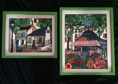 2 O/C Paintings Houses and Gardens Signed Guy ----