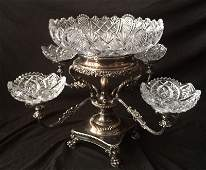 Exquisite Victorian Silver Plate Cut  Glass Epergne