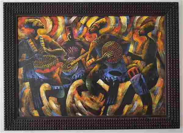 Signed L Milton African O/C Painting