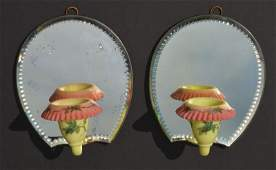 Extremely Rare Pair of Burmese Glass Mirrored Sconces