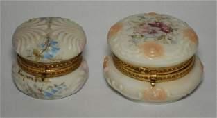 2 Small Wavecrest Glass Powder Jars