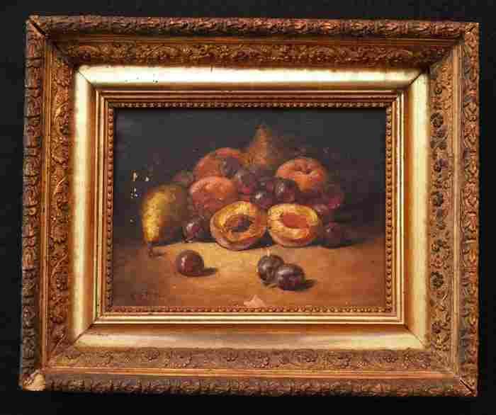 Antique Fruit Still Life Signed MH Potter