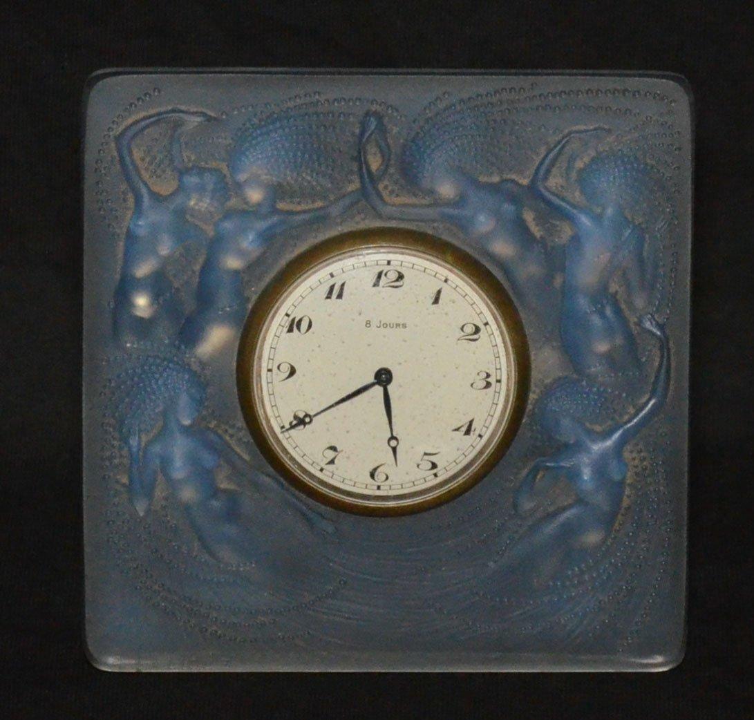 Lalique Opalescent Glass Naiades Clock
