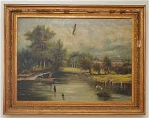 O/C of a Hudson River Scene Signed  N. Tracy