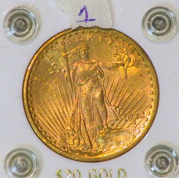 64: 1927 St Gaudens $20 Gold Coin Encased Lot 1