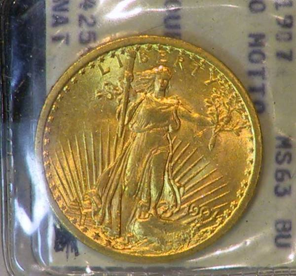 67: 1907 Saint Gaudens $20 Gold Coin Encased MS63 BU