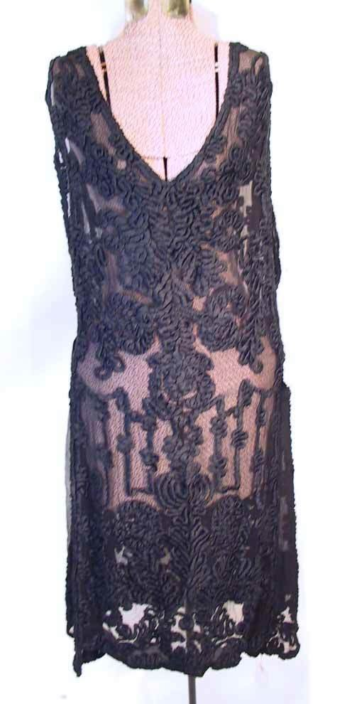 71: 1920's Ribbon Lace & Silk  Black Flapper Dress