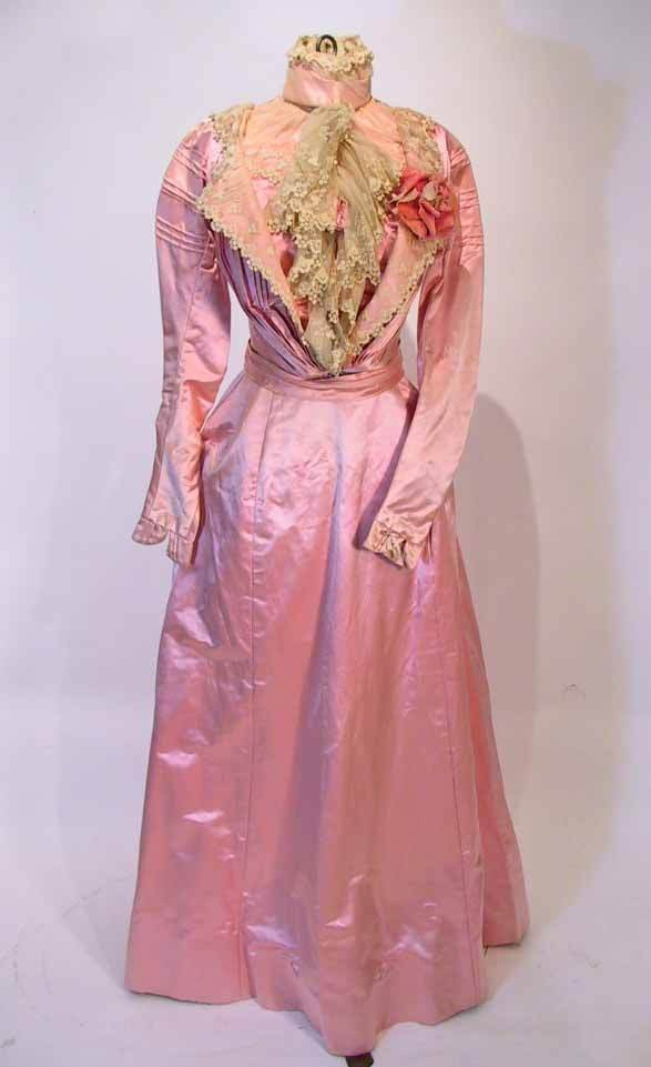78: Victorian Pink Silk & Lace Ensemble / Dress