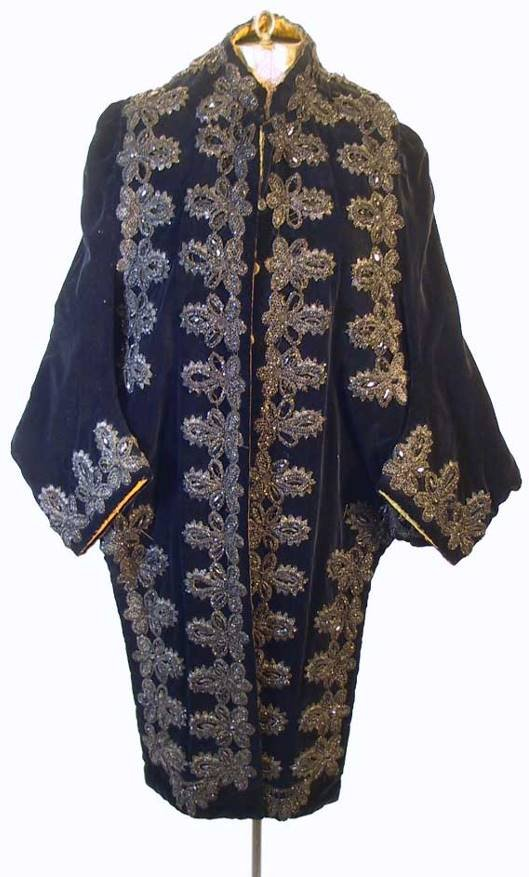 79: Victorian Black Velvet 3/4 Embroidered Coat