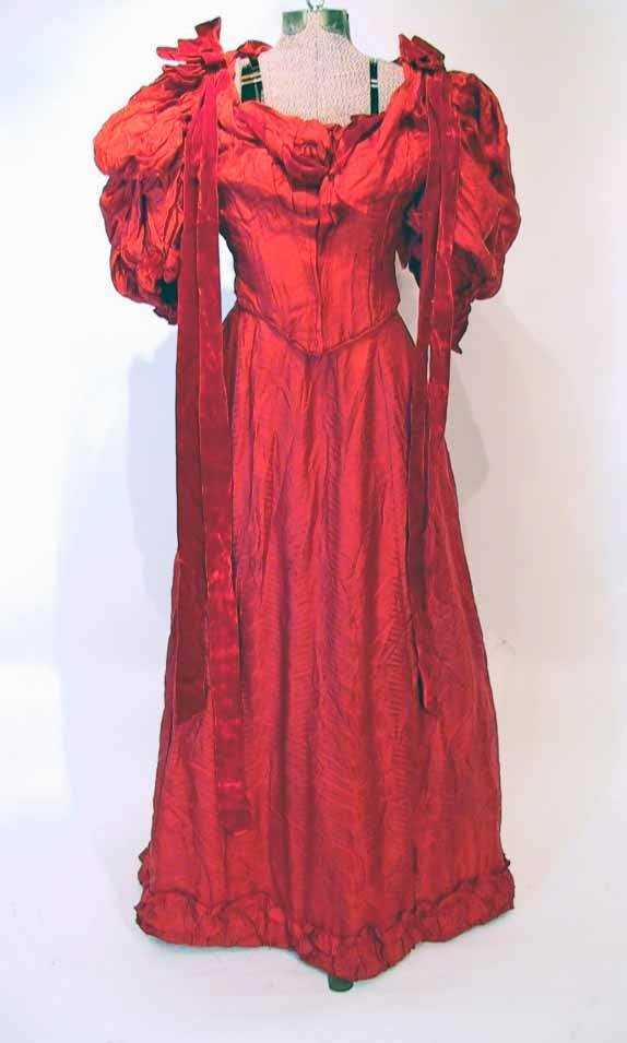 81:  Victorian Patterned Silk Red Gown Dress