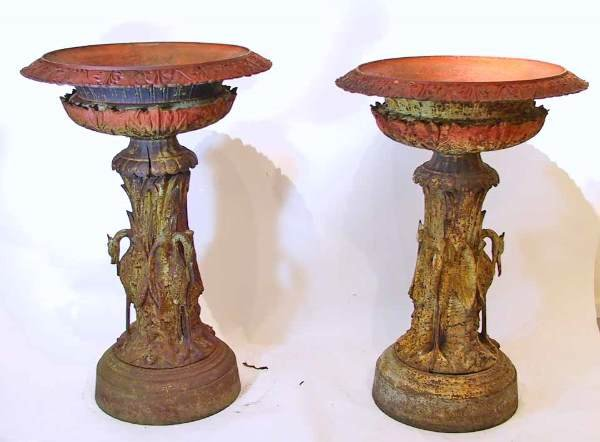 83: Victorian Monumental Pair of J.W. Fiske Bird Urns