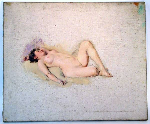 121: Vargas Like Painting O/C  Beautiful  Nude Woman