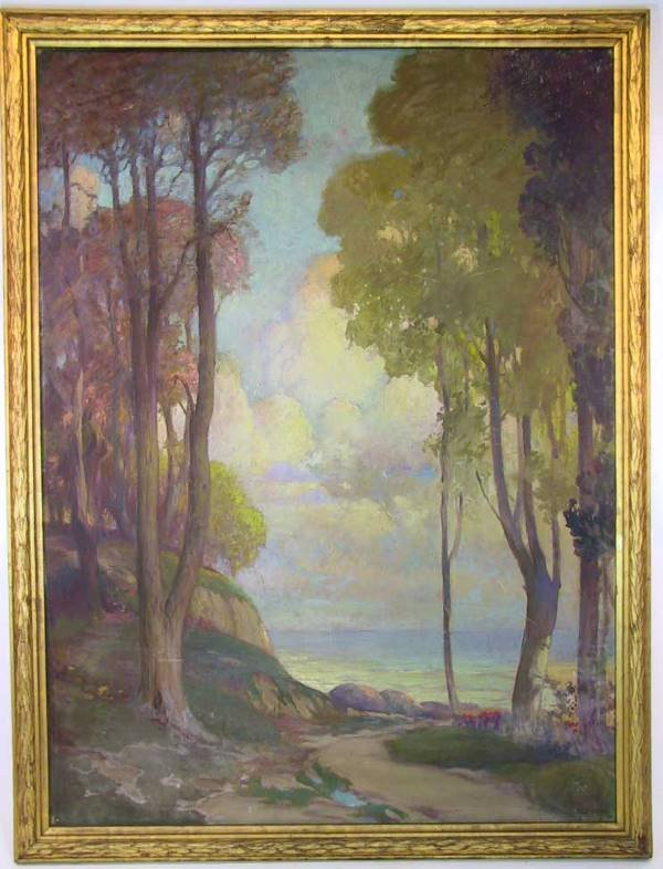 170: Lrg Arts And Crafts Painting Signed F.L. Stoddard
