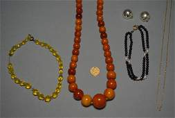 Lot of Misc Gold  Amber Jewelry