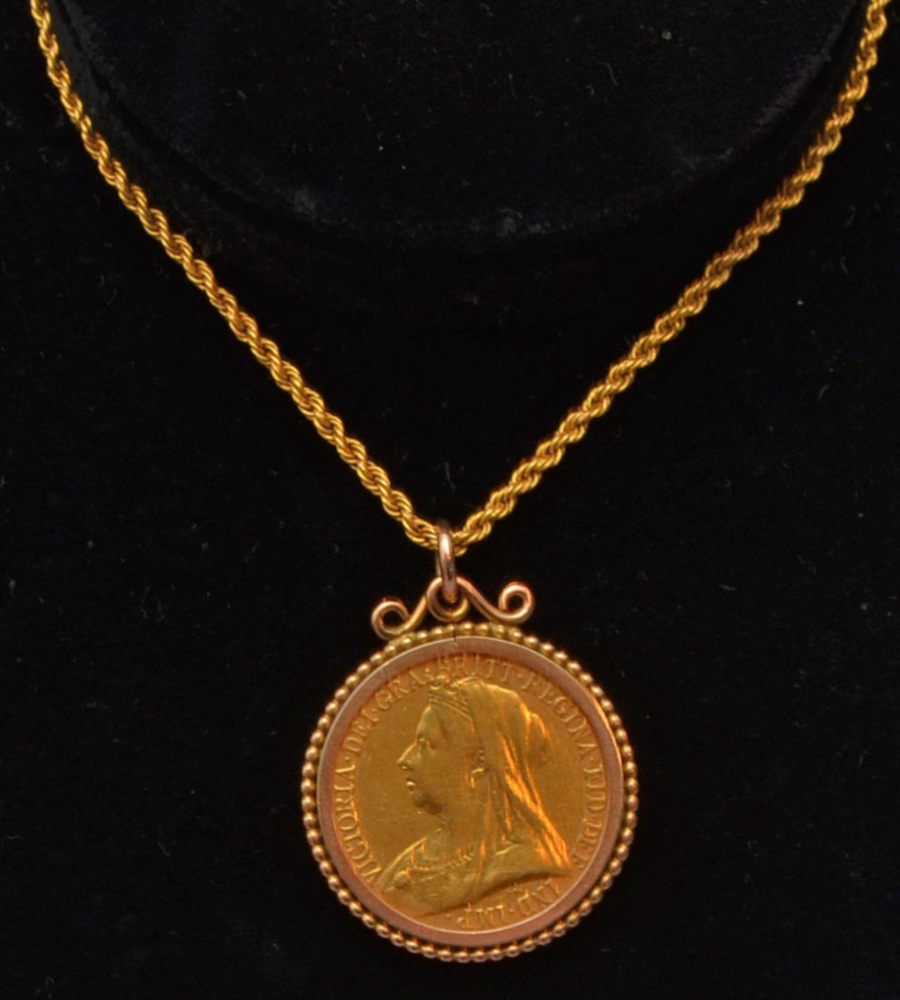 British Gold Sovereign Coin on 9k Gold Chain