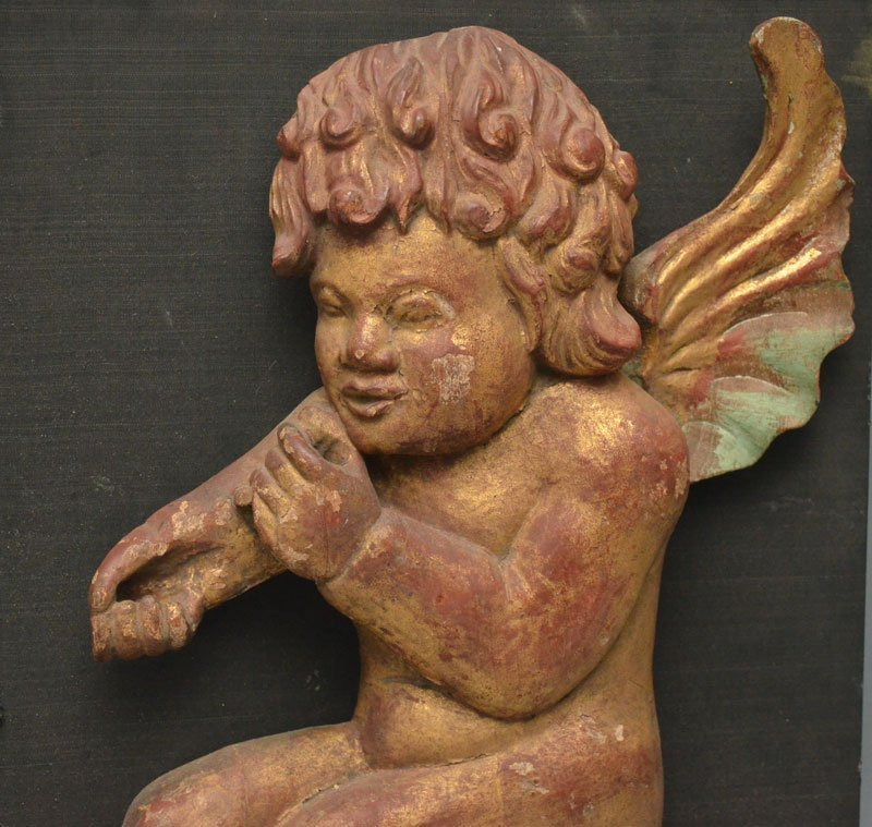 Pair of Antique Gilt Carved Wood Cherub Reliefs