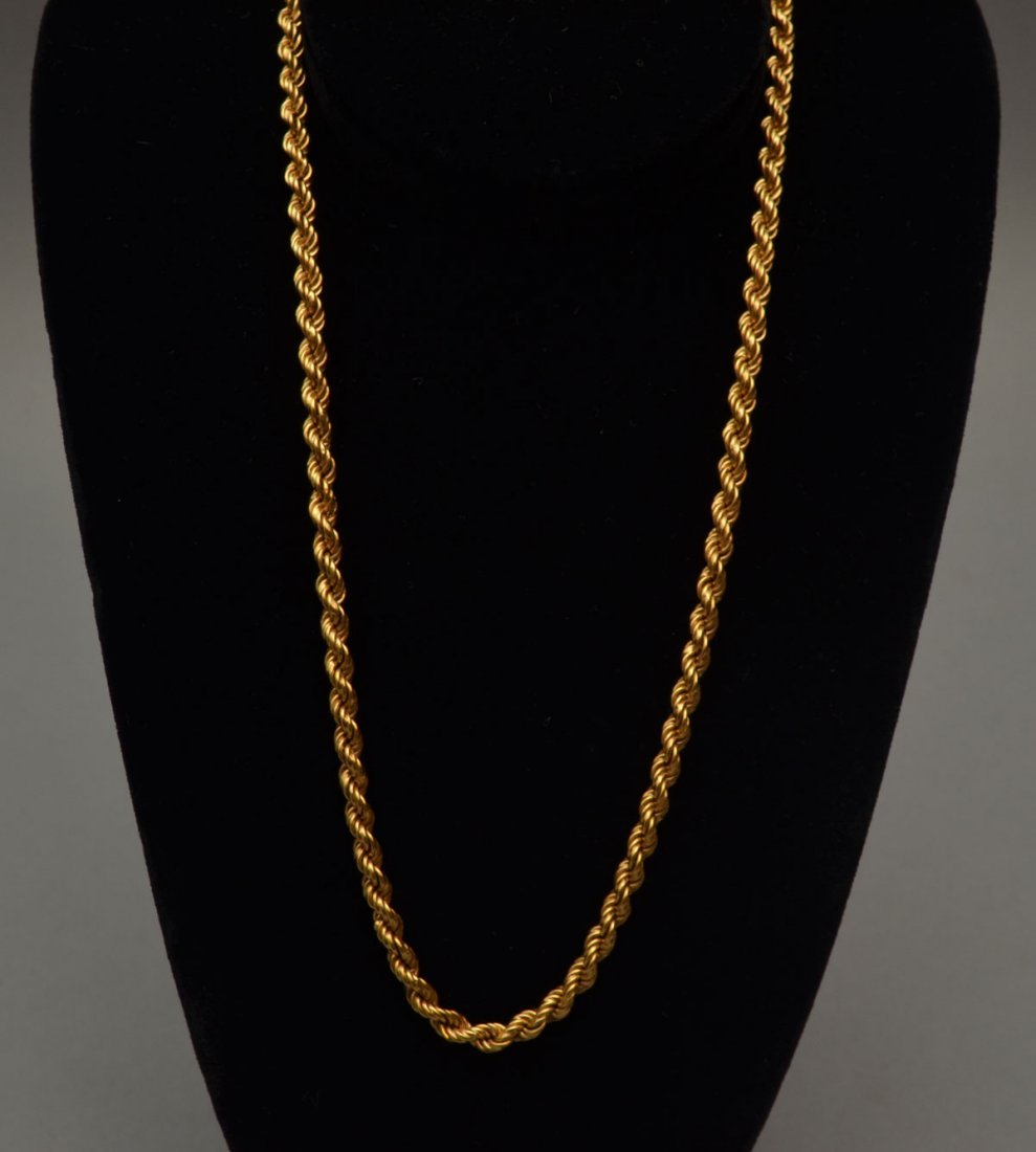 """18k Gold 27"""" Chain Rope Necklace"""