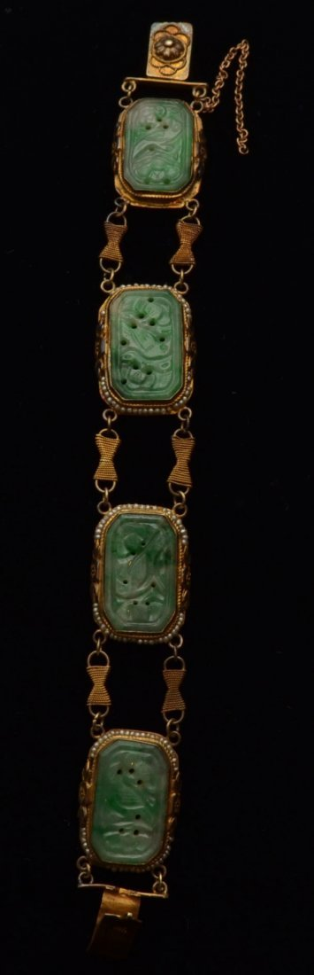 14k Gold, Jade & Seed Pearl Chinese Bracelet
