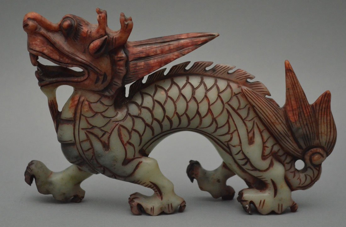 Carved Chinese Multicolor Jade Dragon