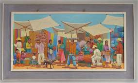 V. Badillo Mexican School Colorful Oil Painting