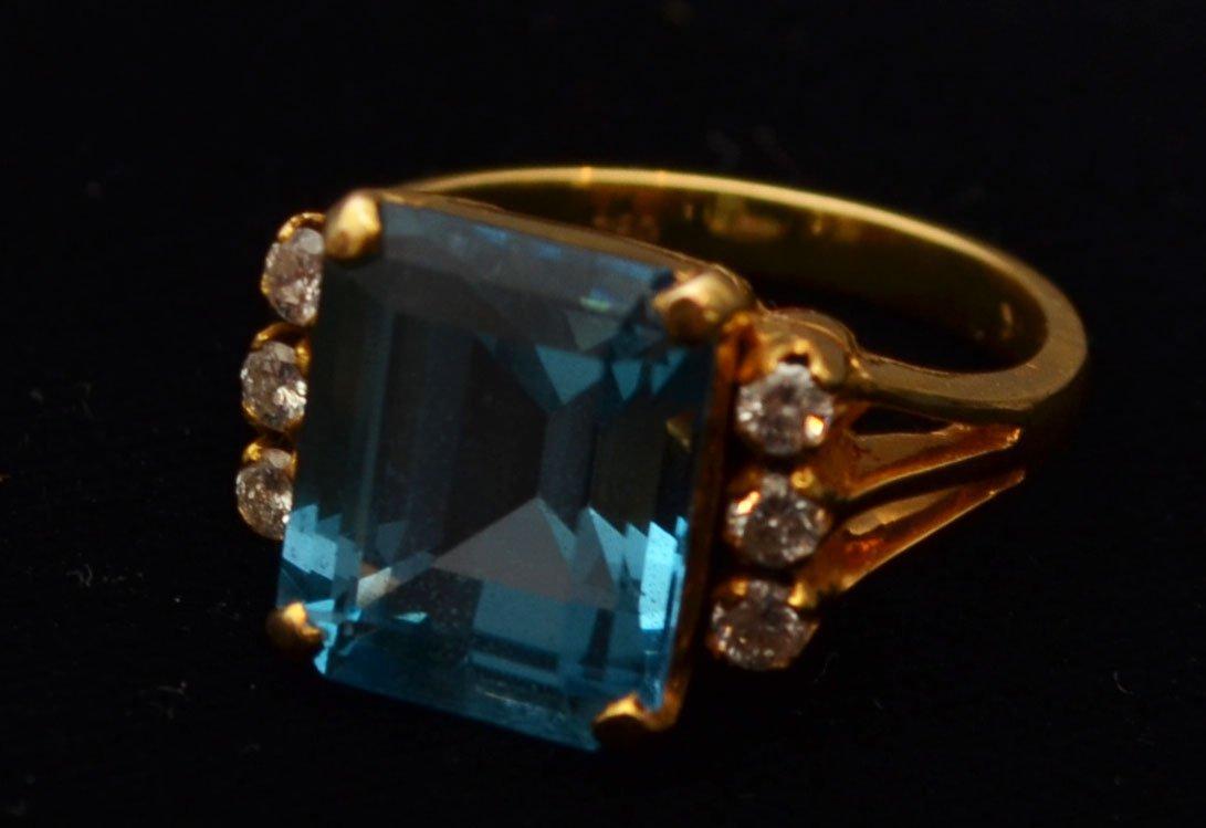 18k Gold, Diamond & Blue Topaz Ring