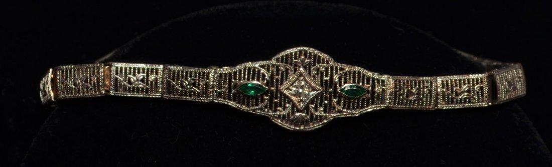 Platinum, Diamond & Emerald Filigree Bracelet