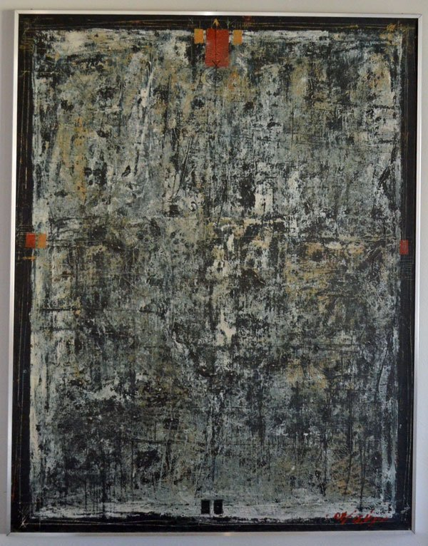 Illegibly Signed Pollock Style Mid Century Painting
