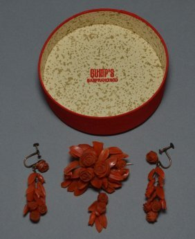 Antique Gumps Coral Earrings And Brooch