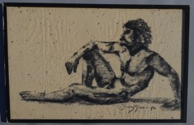 Barry Gross Reclining Nude Male Drawing
