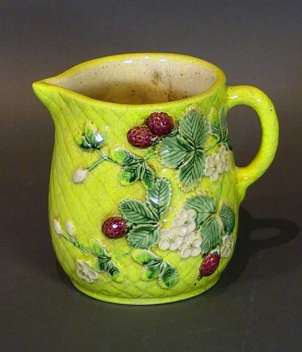 244: Majolica Pitcher with Strawberries