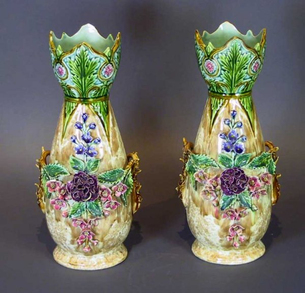 247: Large Pair Of Majolica Vases With Flowers