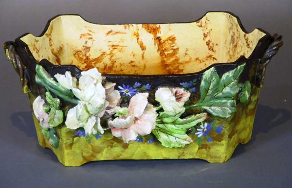 249: French Majolica Jardiniere With Flowers