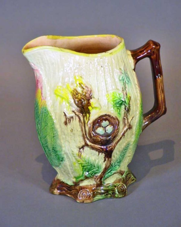 262: Large Majolica Pitcher With Birds