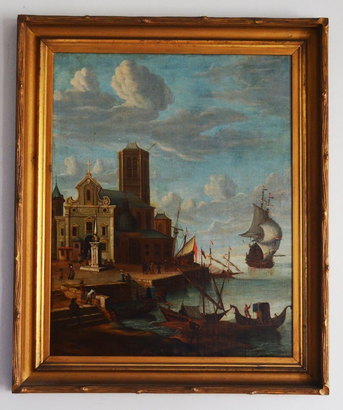 Wonderful Early Painting of A Venice Port