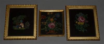 3 Framed Antique Beaded Flower Pictures