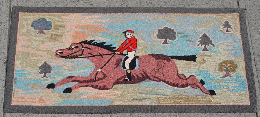 Equestrian Horse Jumping Hooked Rug