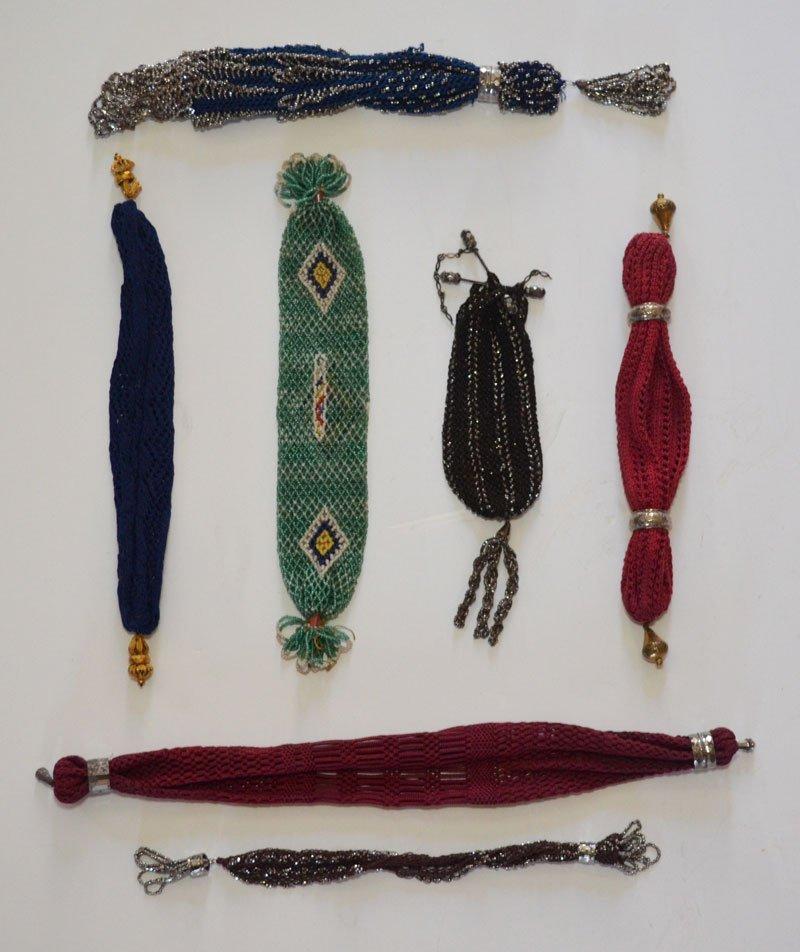 7 Vintage Beaded & Knitted Miser's Purses