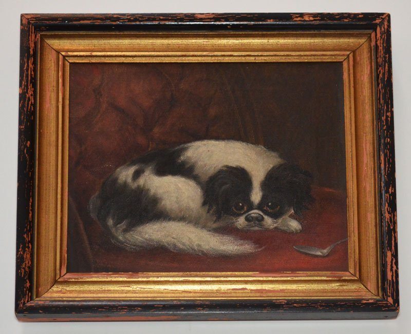 Early Signed Japanese Chin Dog Painting