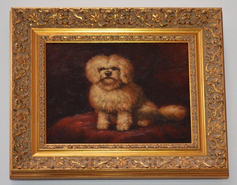 Vintage Bichon Frise Oil Painting Signed Carson