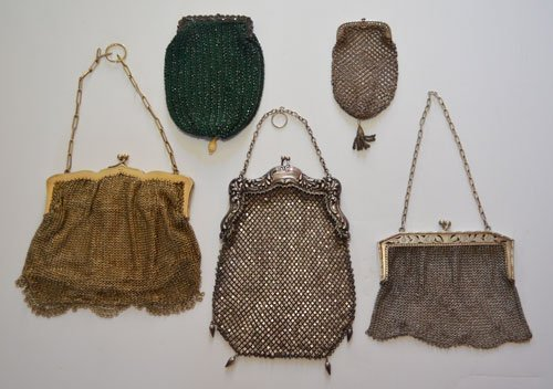 Lot of 5 Sterling Silver Vintage Mesh Purses