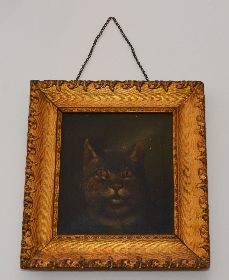 Antique Oil Painting of a Cat
