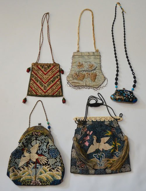Vintage Embroidered & Cloisonne Purse Lot