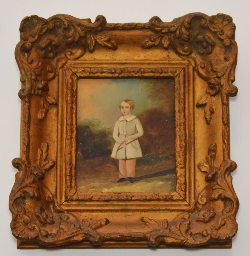 Antique Painting of a Boy Hoop Rolling