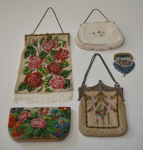 Amazing Lot of 5 Floral Antique Beaded Purses