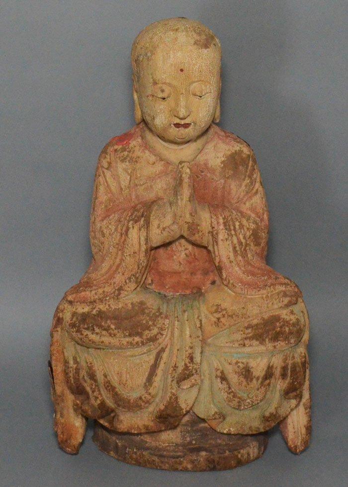 Carved Wood Chinese Buddha Statue