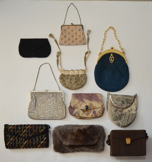 Lot of 10 Various Style Beaded & Embroidered Purses