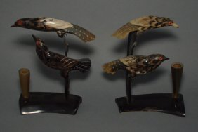 Pr Of Carved Water Buffalo Horn Bird Inkwells